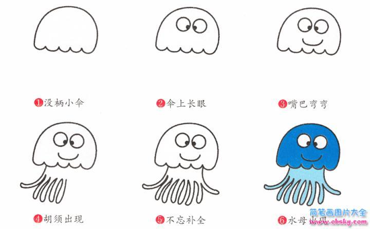 水母简笔画画法 怎么画水母的简笔画 简笔画动物 儿童简笔画图片大全