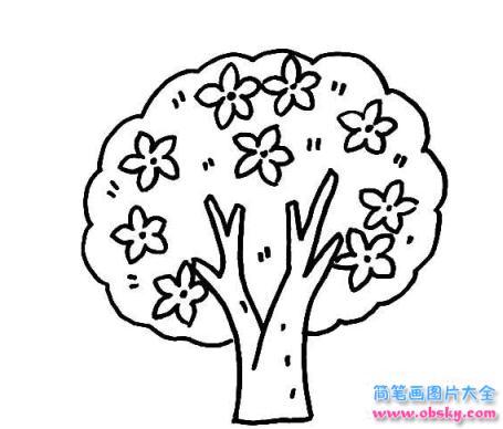 简笔画春天的桃花树的具体画法步骤图片教程