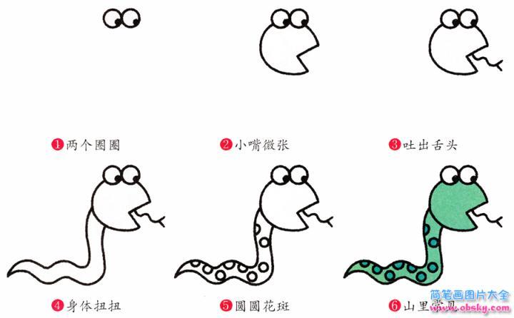 蛇简笔画画法 怎么画蛇的简笔画