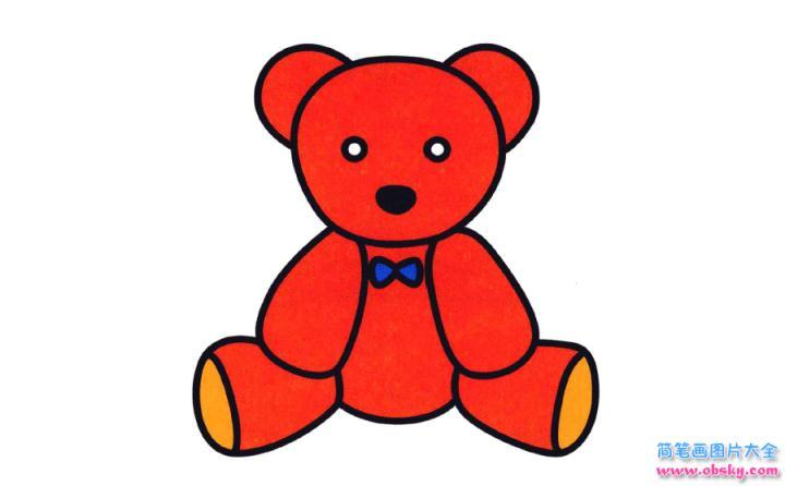 彩色简笔画玩具熊的图片教程