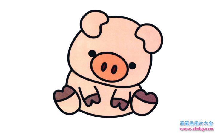 彩色简笔画小猪的图片教程