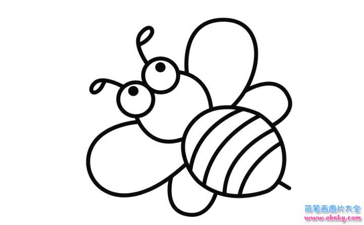 彩色蜜蜂简笔画画法 怎么画彩色蜜蜂的简笔画 简笔画大全 儿童