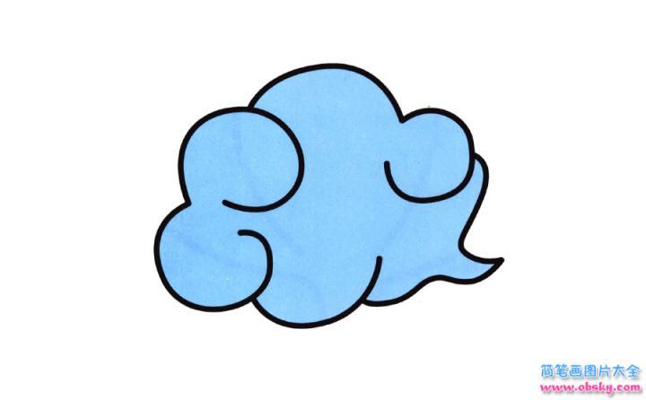 彩色简笔画云朵的图片教程