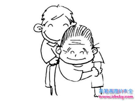儿童重阳节简笔画图片:我帮奶奶捶背