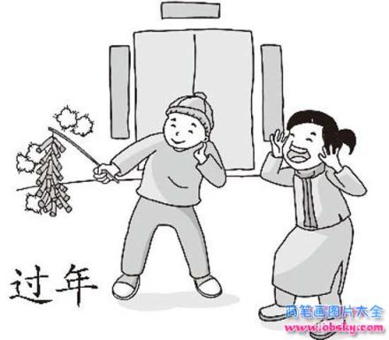 儿童过新年简笔画图片:放鞭炮