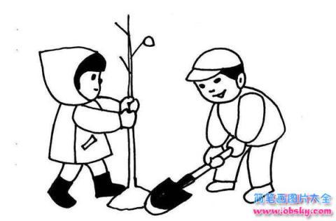 怎么画植树节主题 植树的男孩与女孩简笔画的教程 植树节简笔画 儿童简