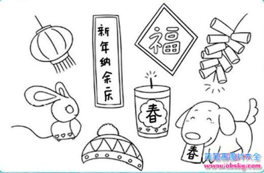 怎么画各种春节过年简笔画的教程 春节简笔画 儿童简笔画图片大全