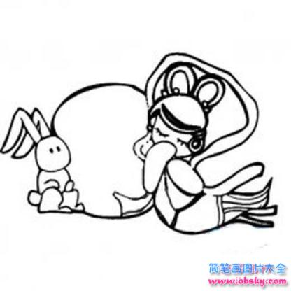 怎么画幼儿中秋节主题 嫦娥与玉兔简笔画的教程 中秋节简笔画 儿童简