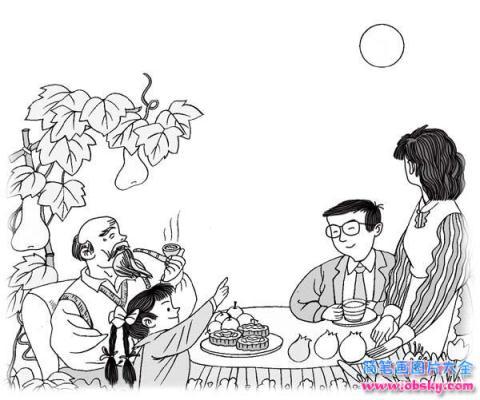 怎么画关于中秋节的 一家人团圆话中秋简笔画的教程
