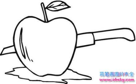 切苹果简笔画图片