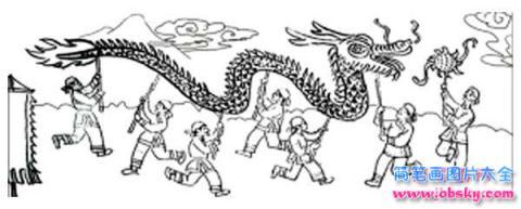 春节民间风俗简笔画:舞龙