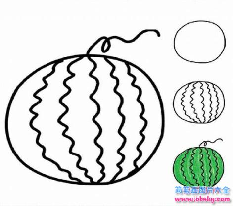 幼儿关于西瓜的简笔画画法教程