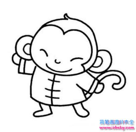 猴年春节吉祥物简笔画:可爱的猴子