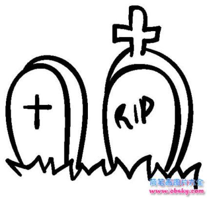 万圣节墓地简笔画图片