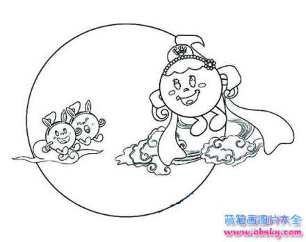 儿童可爱的中秋节简笔画图片