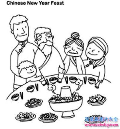 儿童春节主题简笔画图片:吃团圆饭