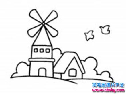 小学生风景简笔画:风车城堡