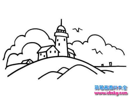 如何画风景 城堡风光简笔画 风景简笔画 儿童简笔画图片大全