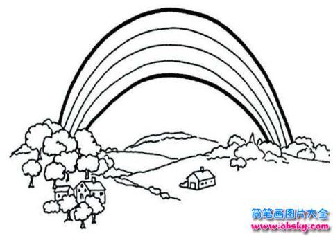 风景简笔画彩虹桥风景简笔画 简笔画 故事中国