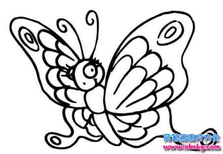 可爱的卡通蝴蝶简笔画