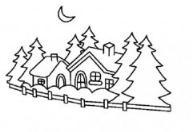 如何画风景:森林里的木屋简笔画