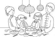 怎么画幼儿春节:吃年夜饭简笔画的教程