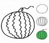 教你画幼儿关于西瓜的画法教程简笔画
