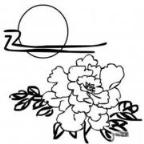 怎么画小学生中秋节:牡丹满月下简笔画的教程