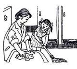 怎么画五一劳动节:我帮妈妈做家务简笔画的教程