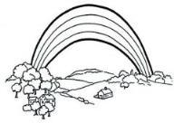 如何画儿童风景:彩虹下的村庄简笔画