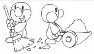怎么画五一劳动节卡通:小鸭子做劳动简笔画