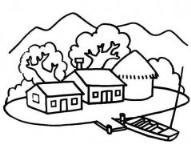 如何画山水田园风景简笔画