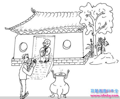 怎么画清明节情景 寺庙进香简笔画的教程 清明节简笔画 儿童简笔画图片大全