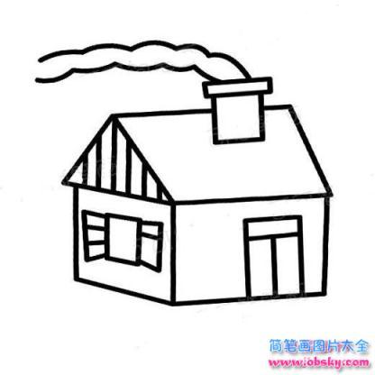 儿童烟囱房子简笔画