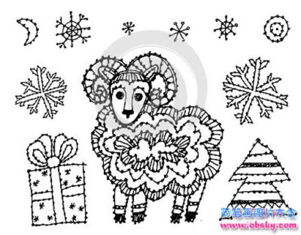 怎么画羊年元旦新年简笔画的教程 元旦简笔画 儿童简笔画图片大全