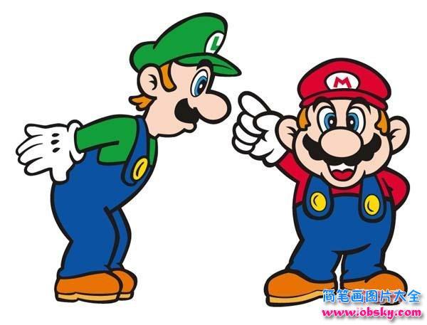 超级玛丽马里奥兄弟简笔画画法步骤,马里奥兄弟是游戏中的小小的角色,在中间有着关键性的作用,俩兄弟一个是马里奥.