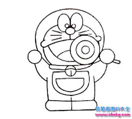 儿童简笔画:吃棒棒糖的机器猫