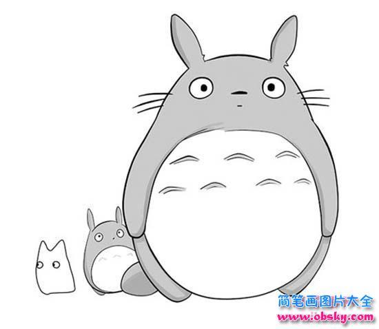 大龙猫和小龙猫简笔画图片