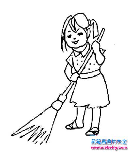 五一劳动节人物简笔画 扫地的女孩 小女孩 儿童简笔画图片大全