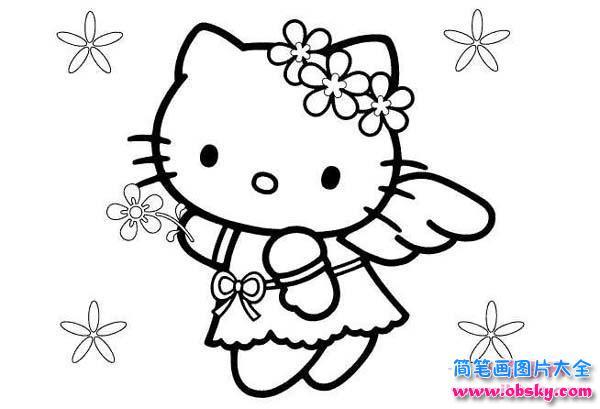 幼儿凯帝猫简笔画图片 天使凯帝猫