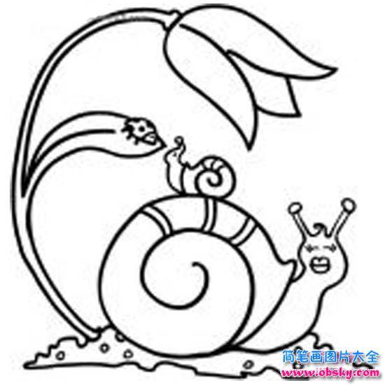 可爱的儿童简笔画:大蜗牛与小蜗牛