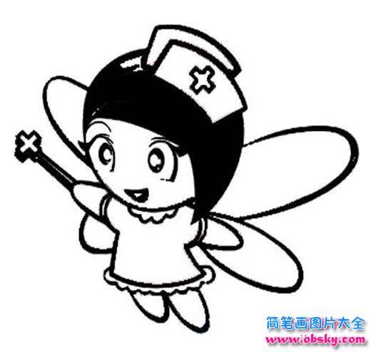 白衣天使简笔画图片 可爱的护士