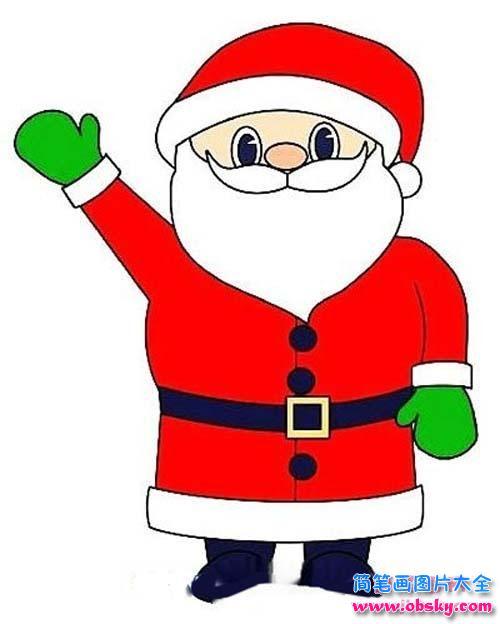 彩色圣诞老人简笔画图片 圣诞老人 儿童简笔画图片大全