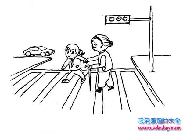 扶老奶奶过马路简笔画图片 奶奶 儿童简笔画图片大全