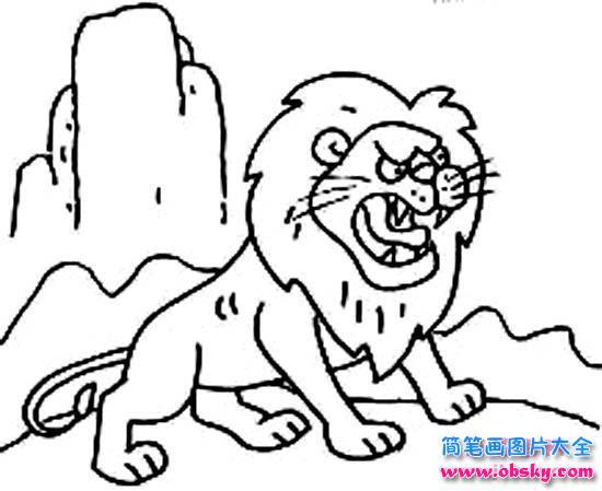 凶猛的狮子简笔画大全 简笔画狮子 儿童简笔画图片大全