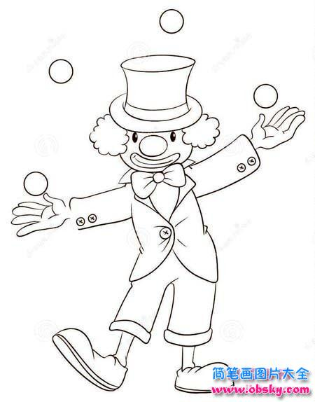 站立的小丑简笔画图片 小丑 儿童简笔画图片大全