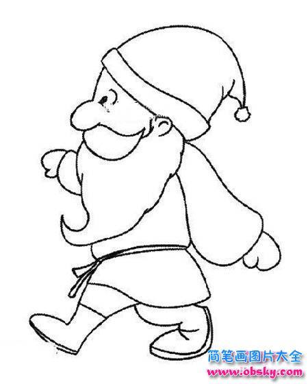 圣诞老人侧面简笔画图片 圣诞老人 儿童简笔画图片大全