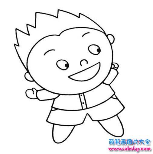 调皮的小男孩简笔画
