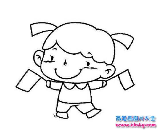 表情 国庆节快乐简笔画大全 挥舞彩旗的小女孩 简笔画国庆节 儿童简  表情