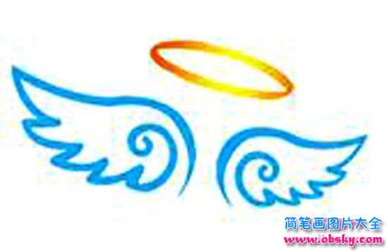 彩色天使的翅膀简笔画图片